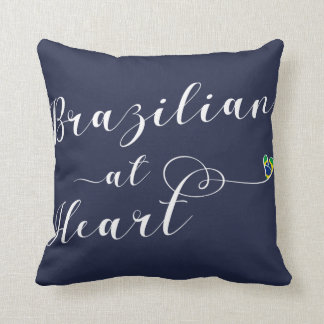 Brazilian At Heart Throw Cushion, Brasil Throw Pillow