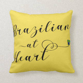 Brazilian At Heart Throw Cushion, Brazil Throw Pillow