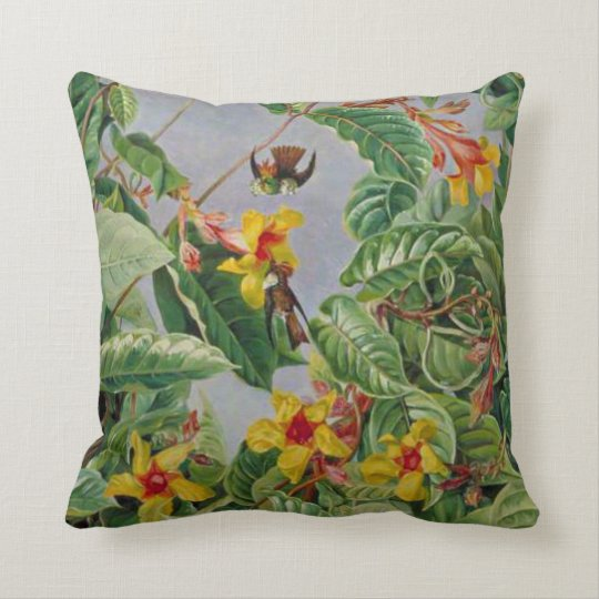 Brazilian Climbing Shrub and Humming Birds Throw Pillow