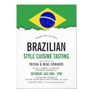 Brazilian Cuisine | Party Flag White Invite