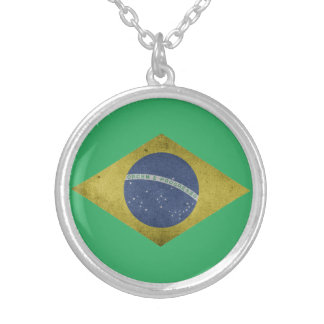 Brazilian diamond silver plated necklace