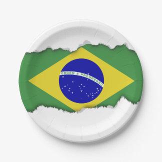 Brazilian Flag 7 Inch Paper Plate