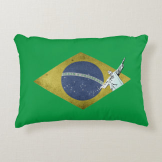 Brazilian flag accent pillow