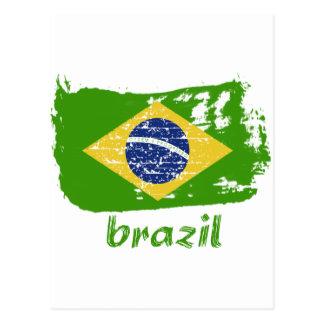 Brazilian flag designs postcard