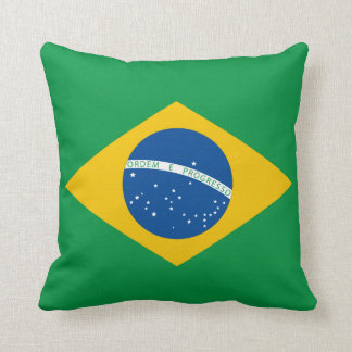 Brazilian Flag Pillow, Brasil, Green Yellow Blue Throw Pillow