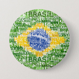Brazilian Flag - Textual Brasil 3 Inch Round Button