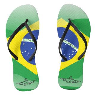 Brazilian glossy flag flip flops