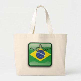 Brazilian glossy flag large tote bag
