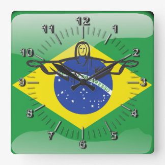 Brazilian glossy flag square wall clock