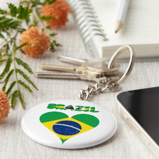 Brazilian heart flag keychain