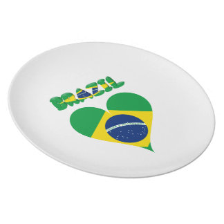 Brazilian heart flag plate