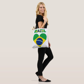 Brazilian heart flag tote bag