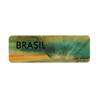 Brazilian label modern art in 3D ADHESIVE Return Address Label