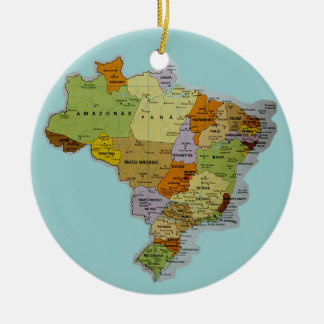 Brazilian Map Ceramic Ornament