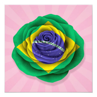 Brazilian Rose Flag on Pink Card
