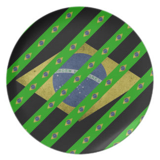 Brazilian stripes flag plate