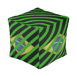 Brazilian stripes flag pouf