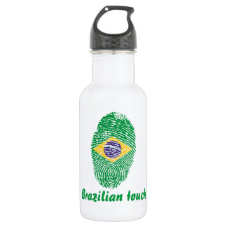 Brazilian touch fingerprint flag 532 ml water bottle