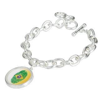 Brazilian touch fingerprint flag charm bracelet