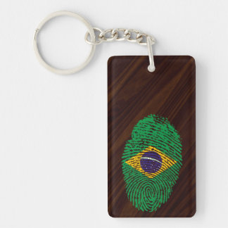 Brazilian touch fingerprint flag Double-Sided rectangular acrylic keychain