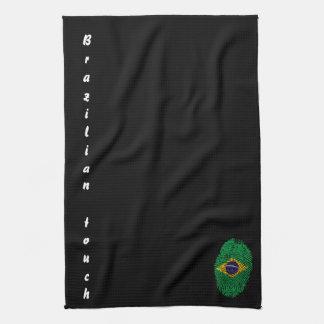 Brazilian touch fingerprint flag kitchen towels