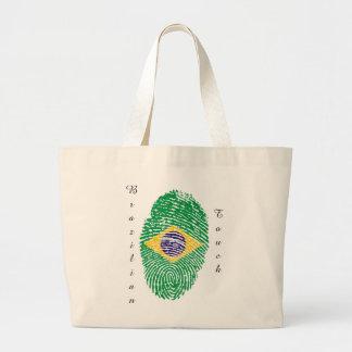 Brazilian touch fingerprint flag large tote bag