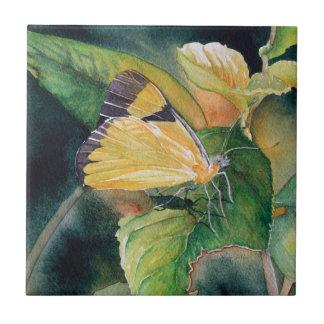 Brazilian Yellow Butterfly Fine Art Tile