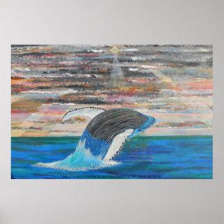 Breaching humpback poster