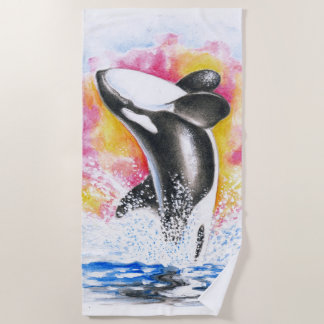 Breaching Orca Colorful Watercolor Beach Towel
