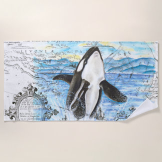 Breaching Orca Whale Ancient Map Beach Towel