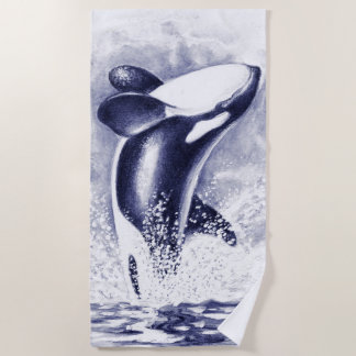 Breaching Orca Whale Blue Beach Towel