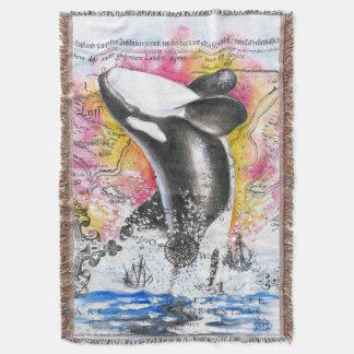 Breaching Orca Whale Vintage Map Rainbow Throw Blanket