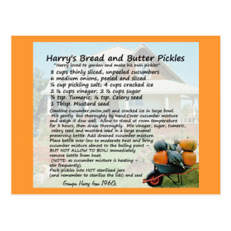 Bread and Butter Pickles Recipe Postcards