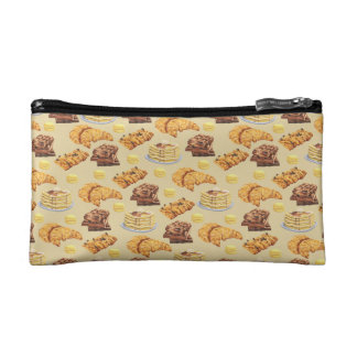 Bread and Pancakes Pattern Makeup Bag