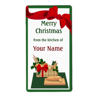 Bread Basket Christmas Gift Label Shipping Label