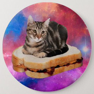 bread cat  - space cat - cats in space 6 inch round button
