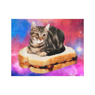 bread cat  - space cat - cats in space canvas print