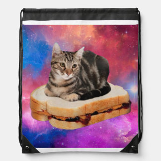 bread cat  - space cat - cats in space drawstring bag