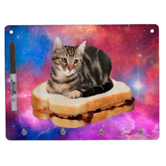 bread cat  - space cat - cats in space dry erase board with keychain holder