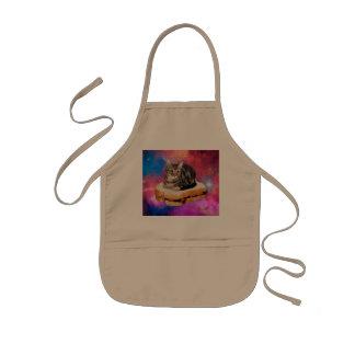 bread cat  - space cat - cats in space kids apron
