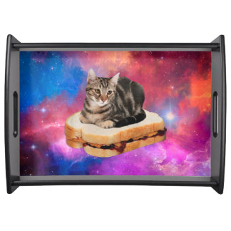 bread cat  - space cat - cats in space serving tray