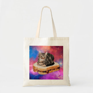 bread cat  - space cat - cats in space tote bag