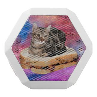 bread cat  - space cat - cats in space white bluetooth speaker