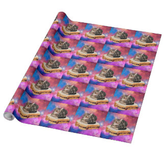 bread cat  - space cat - cats in space wrapping paper
