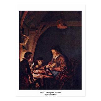 Bread Cutting Old Woman By Gerard Dou Postcard