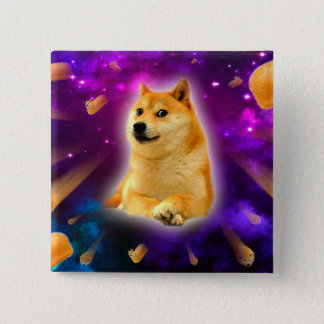bread  - doge - shibe - space - wow doge 2 inch square button
