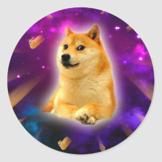 bread  - doge - shibe - space - wow doge classic round sticker