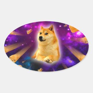 bread  - doge - shibe - space - wow doge oval sticker