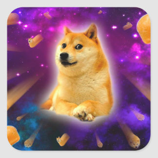 bread  - doge - shibe - space - wow doge square sticker