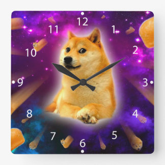 bread  - doge - shibe - space - wow doge square wall clock